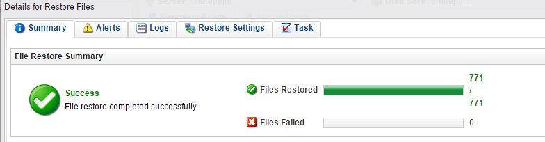 files restore summary